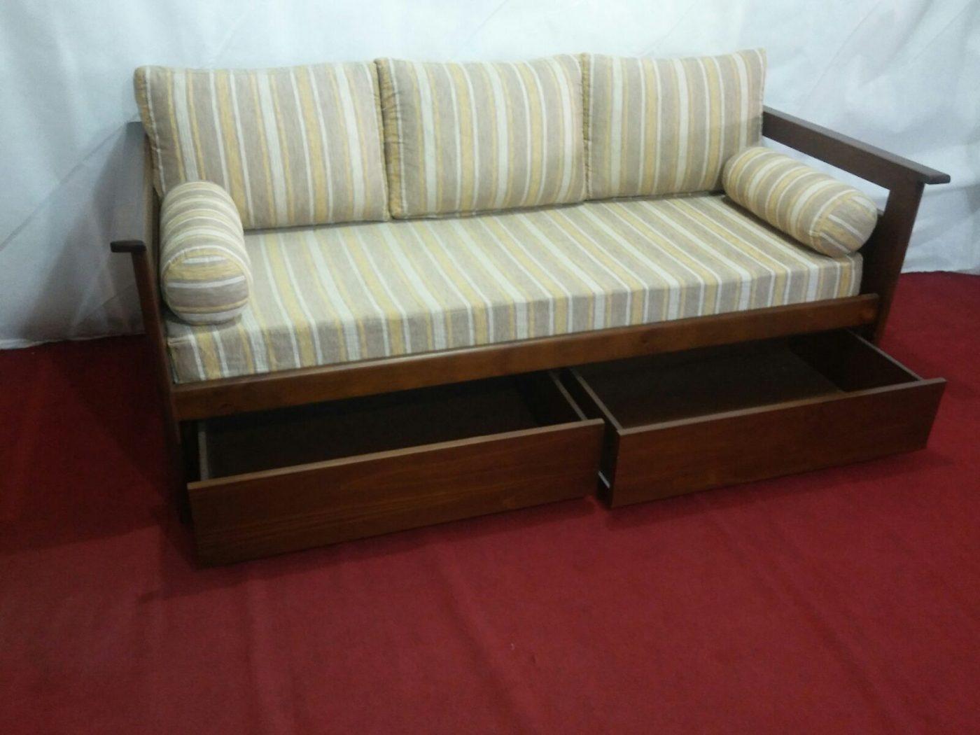 Sof cama con cajones en madera omb muebles uruguay - Sofas con cajones ...